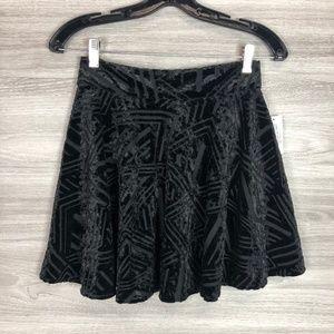 Stoosh Velvet Black Mini Skirt Size Medium